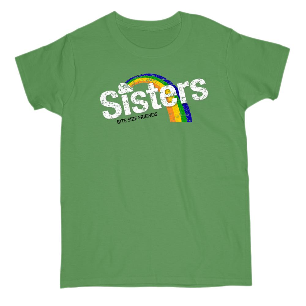 (Women's Gildan )Sisters Bite Size Friends Candy Parody Graphic Rainbow Tee Graphic T-Shirt Tee BOXELS