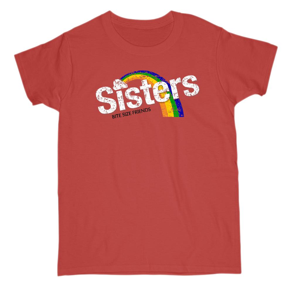 (Women's Gildan )Sisters Bite Size Friends Candy Parody Graphic Rainbow  Tee