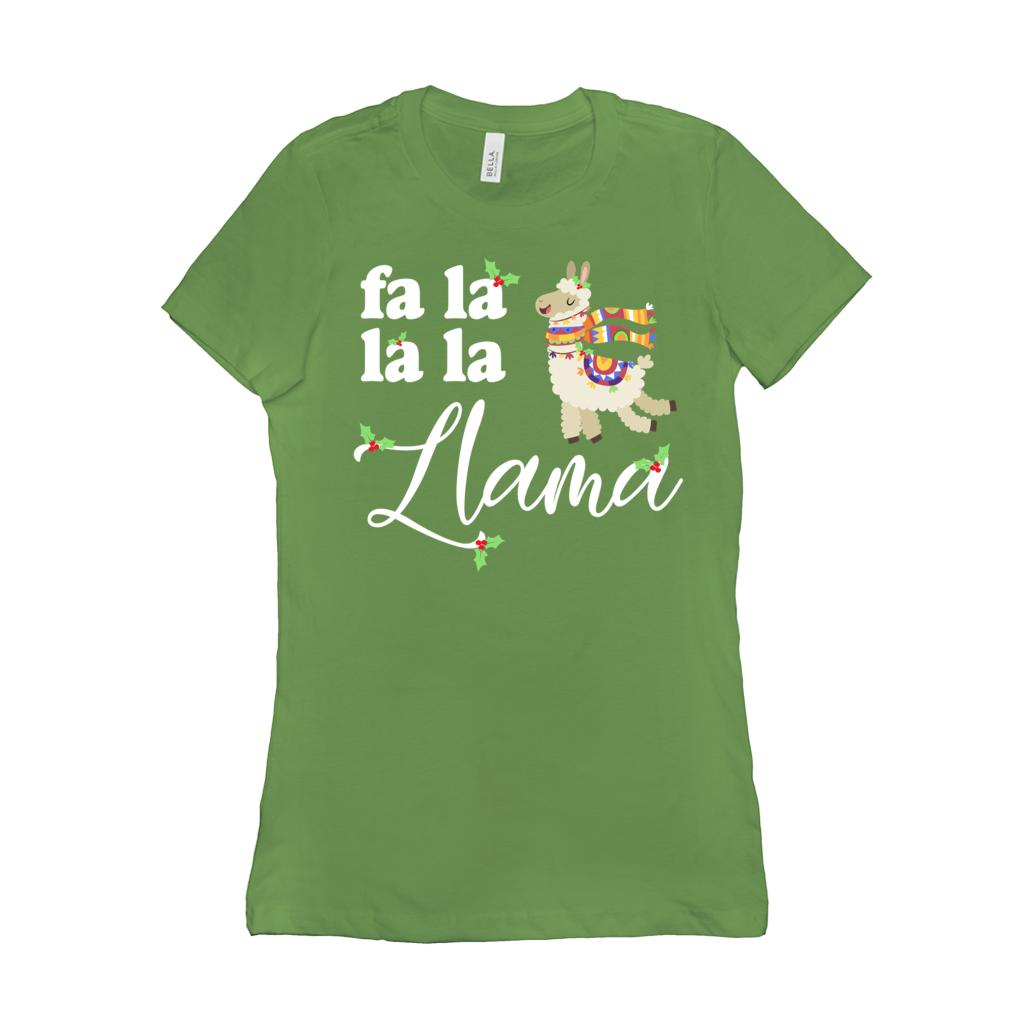 (Women's Soft BC 6004 Size Up 2X! - Other Colors) Fa La La La Llama Christmas Holiday Graphic T-Shirt Tee BOXELS