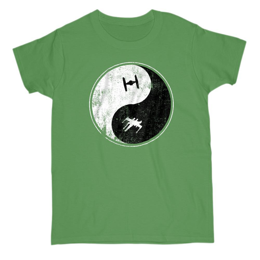 Yin Yang Space Ship (Fighter Wing) Peace Irony Parody Tee Graphic T-Shirt Tee BOXELS