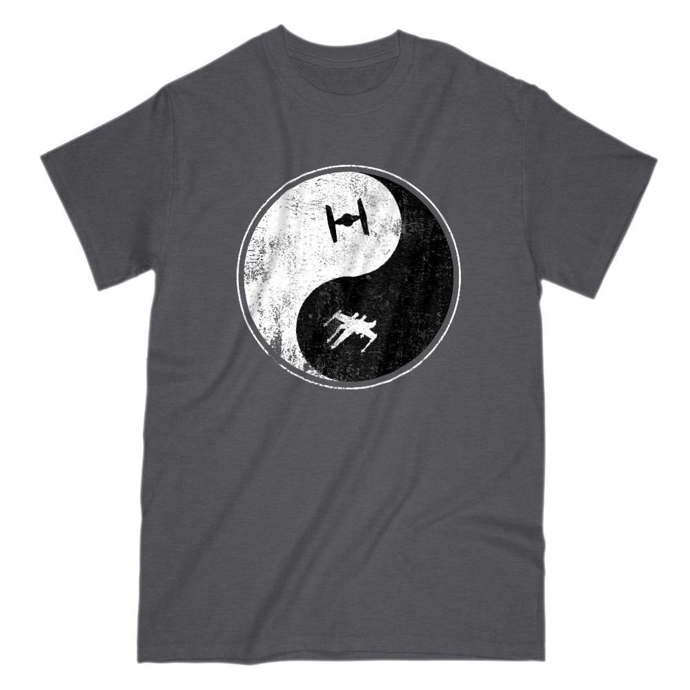 Yin Yang Space Ship (Fighter Wing) Peace Irony Parody Tee
