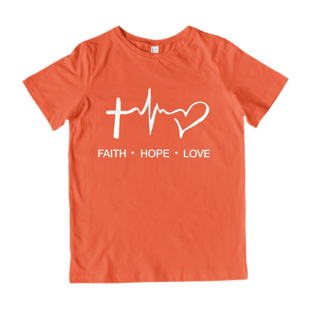 (Youth Cotton Gildan Tee) Faith Hope Love Graphic T-Shirt Tee BOXELS