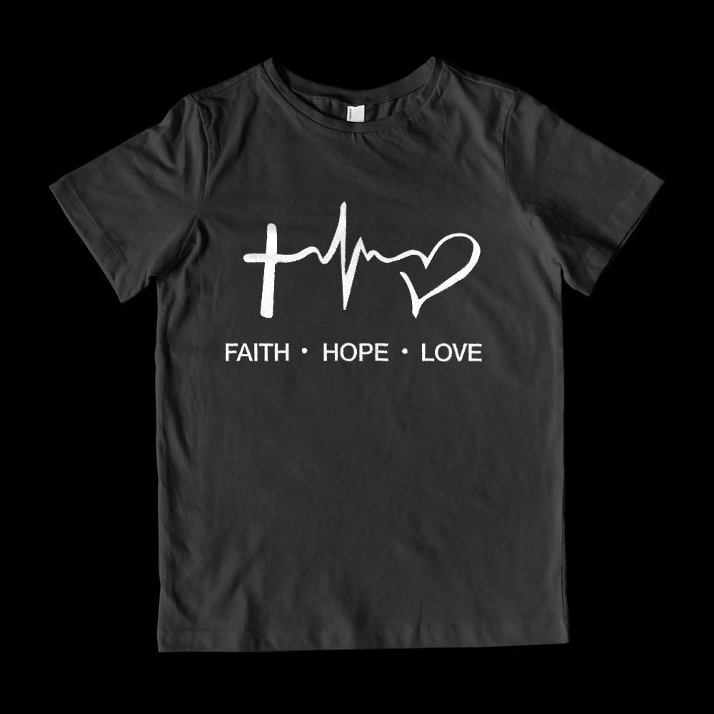 (Youth Cotton Gildan Tee) Faith Hope Love