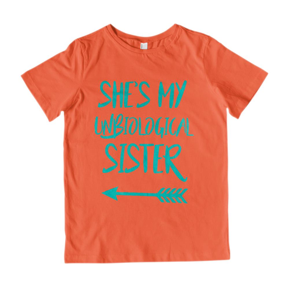 (Youth Cotton Gildan Tee) Unbiological Sister - Matching Set (Left Arrow) Graphic T-Shirt Tee BOXELS