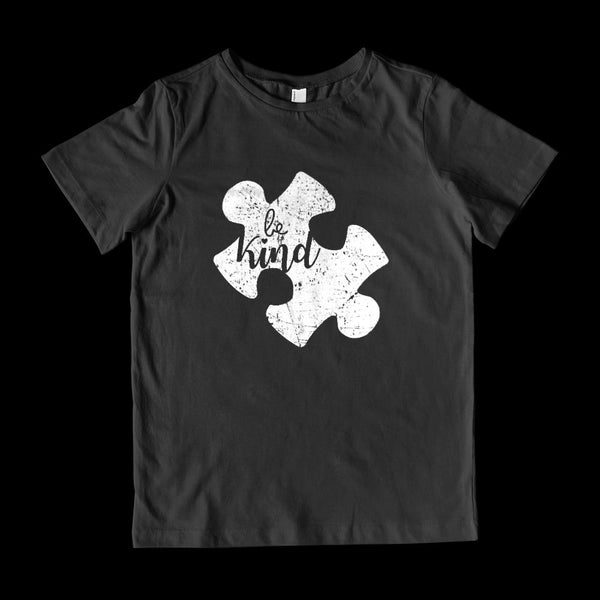 (Youth Gildan Cotton) Autism Awareness Be Kind Puzzle Graphic T-Shirt Tee BOXELS