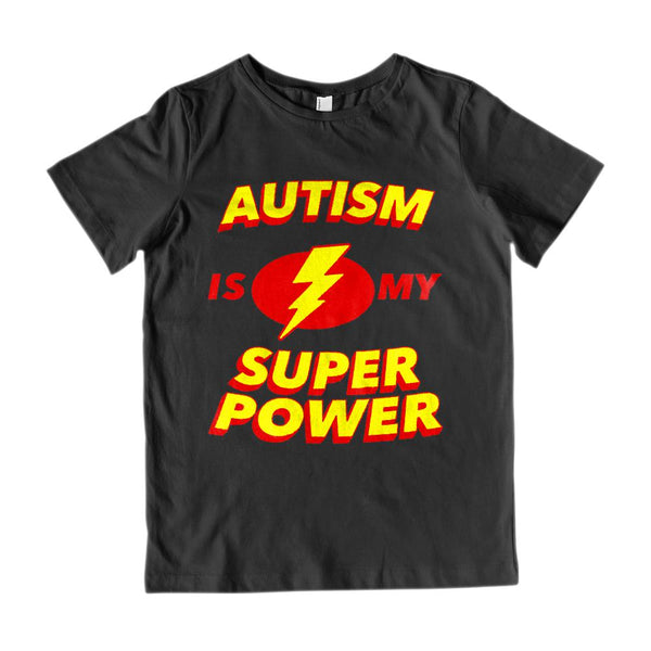 (Youth Gildan Cotton) Autism is my Super Power Graphic T-Shirt Tee BOXELS