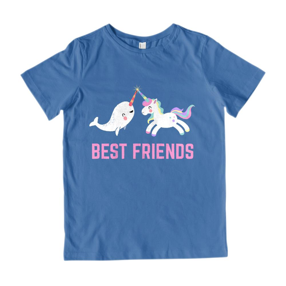 (Youth Gildan Cotton) Best Friends Unicorn & Narwhal Kawaii (pink) Graphic T-Shirt Tee BOXELS