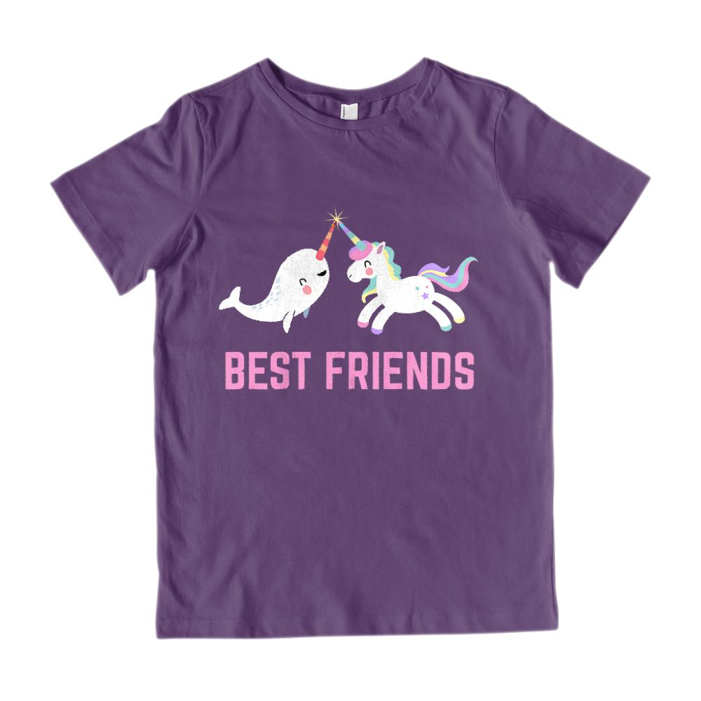 (Youth Gildan Cotton) Best Friends Unicorn & Narwhal Kawaii (pink)