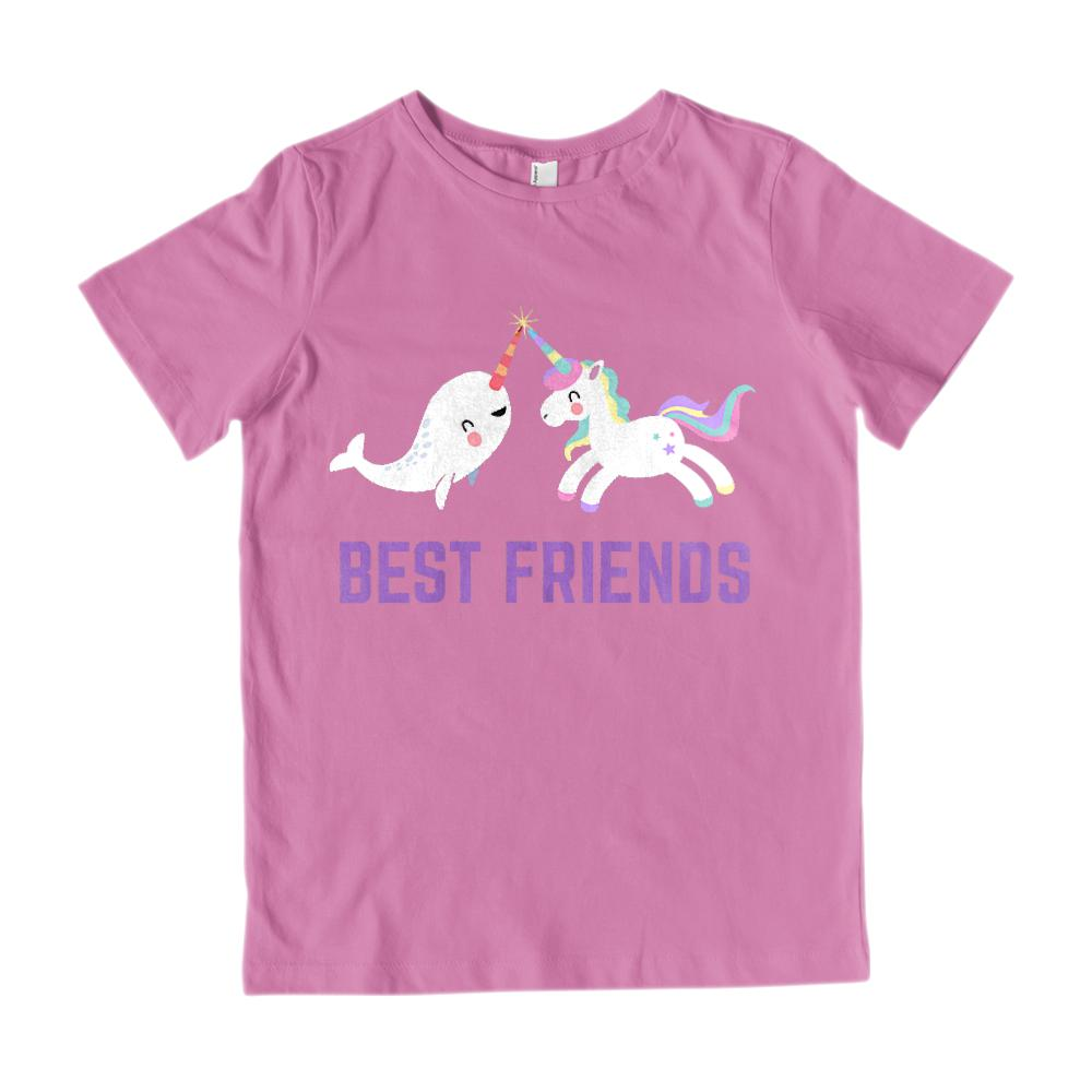 (Youth Gildan Cotton) Best Friends Unicorn & Narwhal Kawaii (Purple) Graphic T-Shirt Tee BOXELS