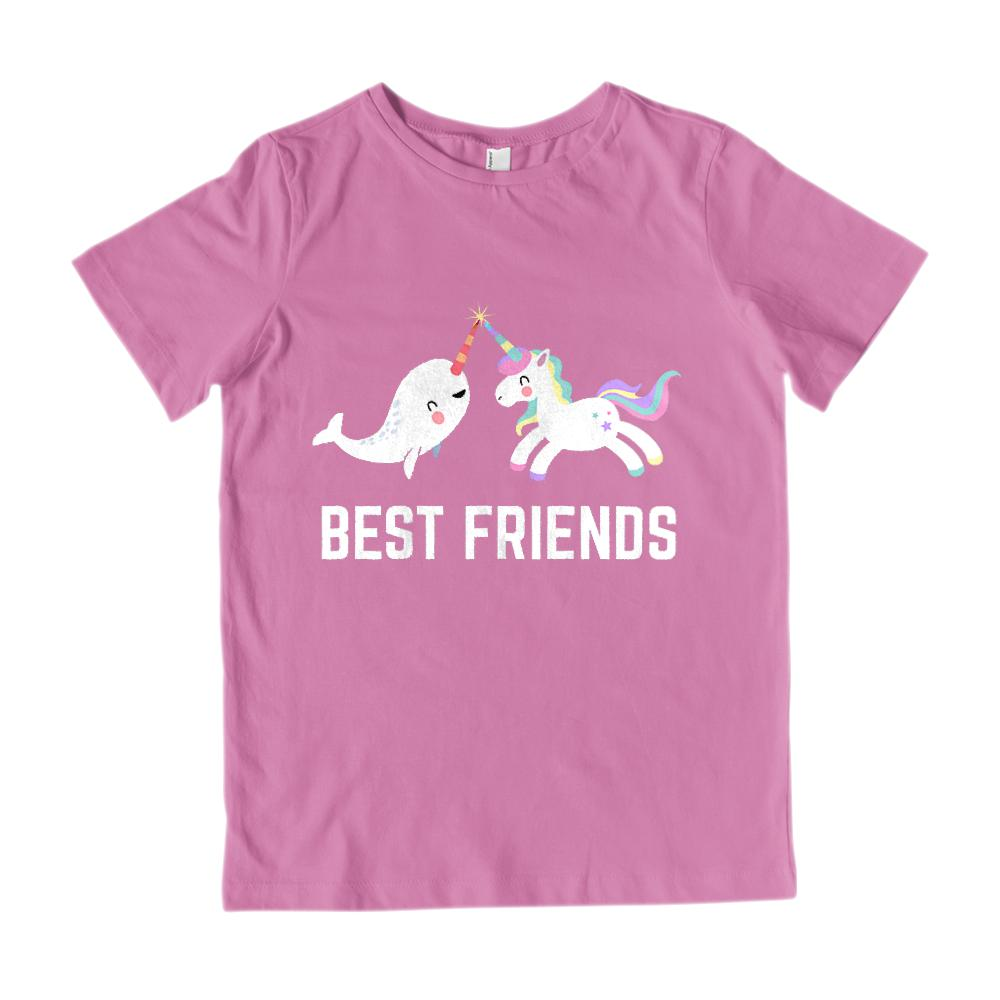 (Youth Gildan Cotton) Best Friends Unicorn & Narwhal Kawaii (white) Graphic T-Shirt Tee BOXELS