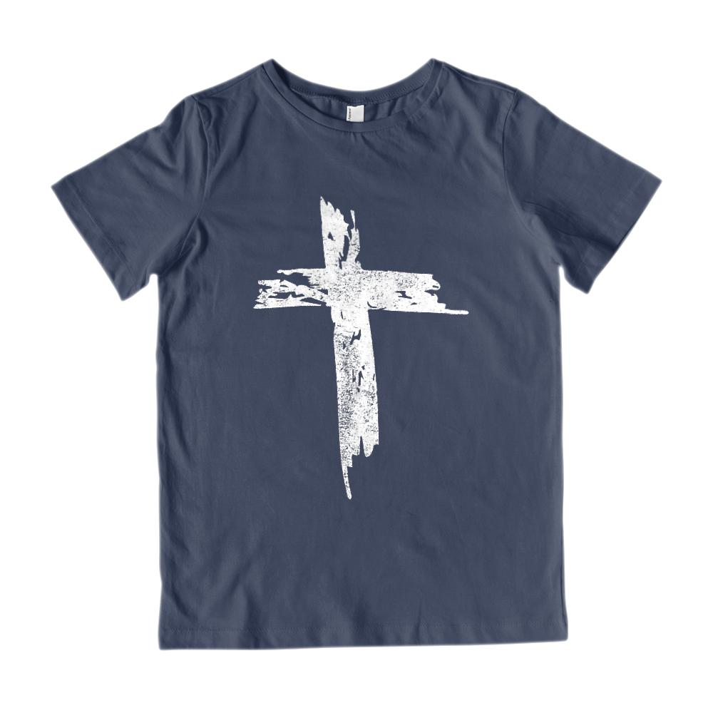 (Youth Gildan Cotton) Grunge Cross Graphic T-Shirt Tee BOXELS
