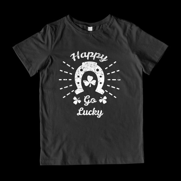(Youth Gildan Cotton) Happy Go Lucky Clover Horseshoe (white) Graphic T-Shirt Tee BOXELS