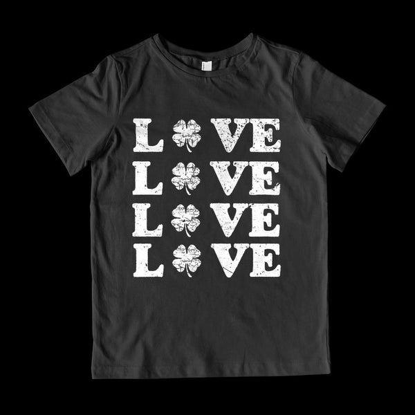 (Youth Gildan Cotton) Love x 4 Clover (white) Graphic T-Shirt Tee BOXELS