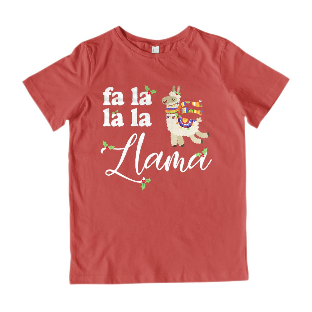 (Youth Gildan Cotton Tee) Fa La La La Llama Christmas Holiday Graphic T-Shirt Tee BOXELS