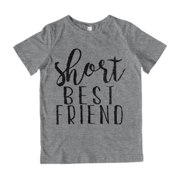(Youth Gildan Cotton Tee) Short Best Friend - Matching (Black) Graphic T-Shirt Tee BOXELS