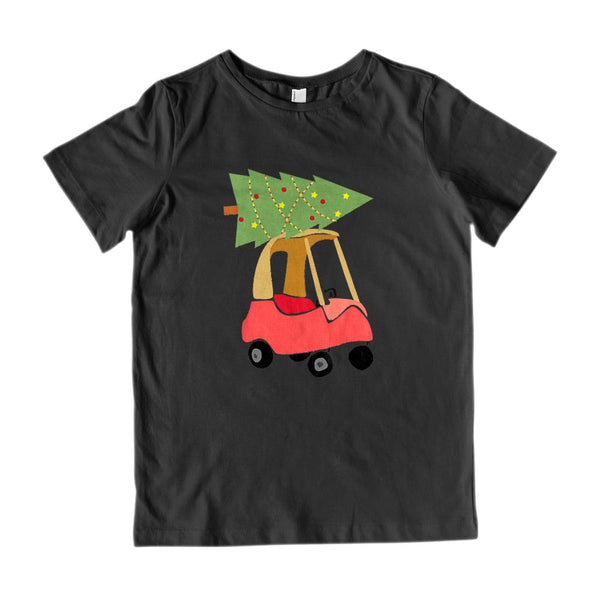 (Youth Gildan Cotton Tee) Toy Car Christmas Tree Carry Graphic T-Shirt Tee BOXELS