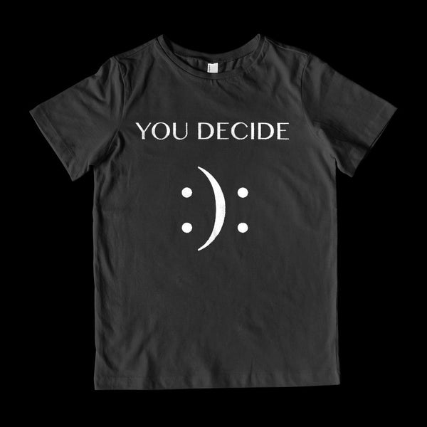 (Youth Gildan Cotton Tee) You Decide Happy or Sad Emoji Emoticon Face Graphic T-Shirt Tee BOXELS