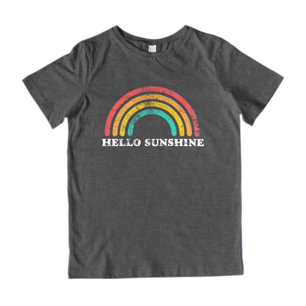 (Youth Gildan Cotton - white) Hello Sunshine Rainbow Vintage Graphic Tee Graphic T-Shirt Tee BOXELS