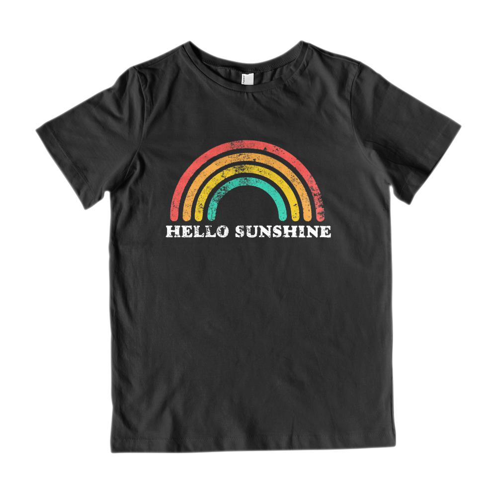 (Youth Gildan Cotton - white) Hello Sunshine Rainbow Vintage Graphic Tee