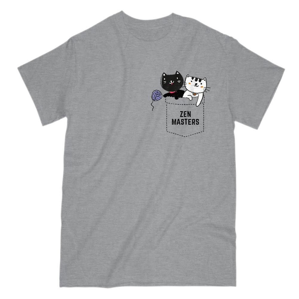 Zen Masters Cats Cute Adorable Kitten Stuff Fake Pocket Tee Graphic T-Shirt Tee BOXELS