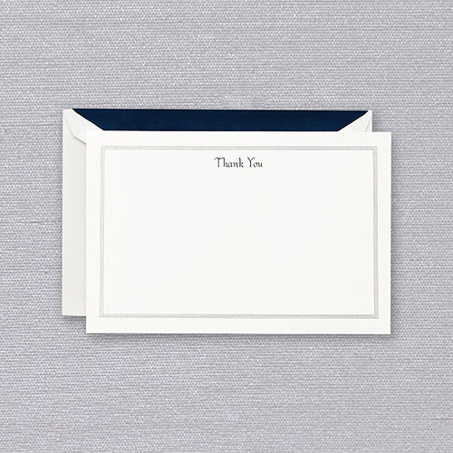 Navy Triple Hairline Thank You Cards