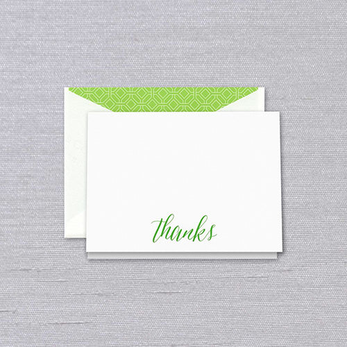 Engraved Spring Green Thank You Notes
