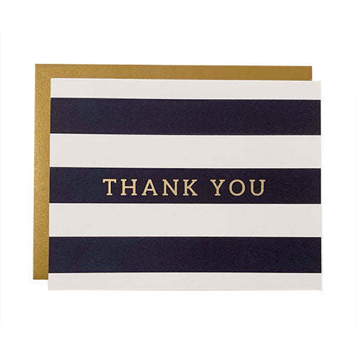 Navy Striped Thank You Card