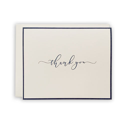 Navy Bordered Thank You Card