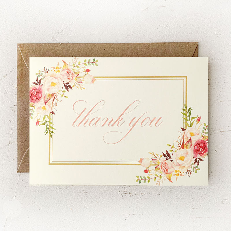 Blush and Gold Floral Thank You Notes