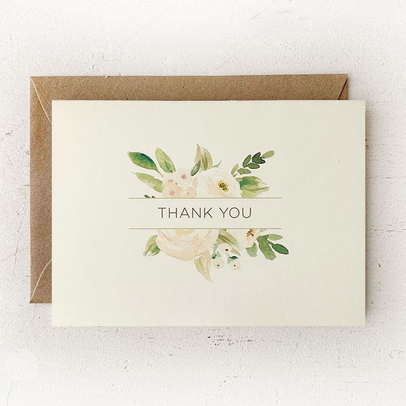 Blush and Ivory Floral Thank You Notes