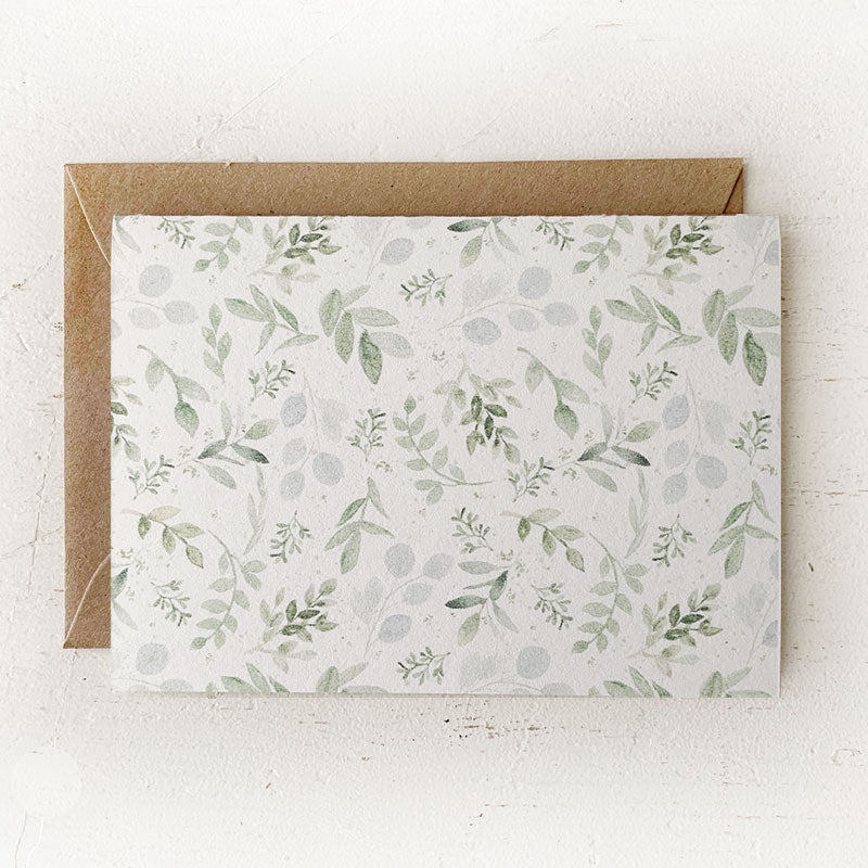 Greenery Patterned Folded Notes