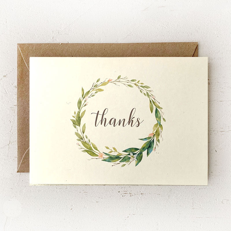 Floral Wreath Thank You Note