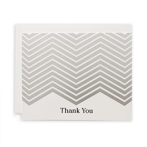 Silver Chevron Thank You Card