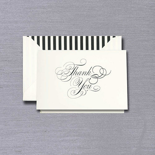 Engraved Black & White Thank You Notes