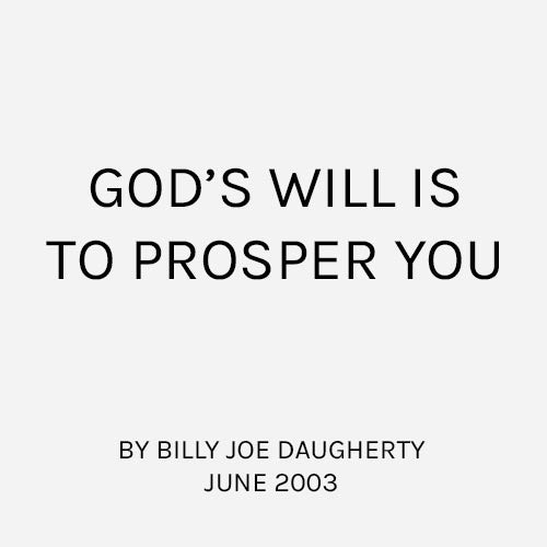 God's Will is to Prosper You