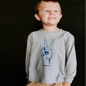 TODDLER V IS FOR VICTORY GRAY LONG SLEEVE