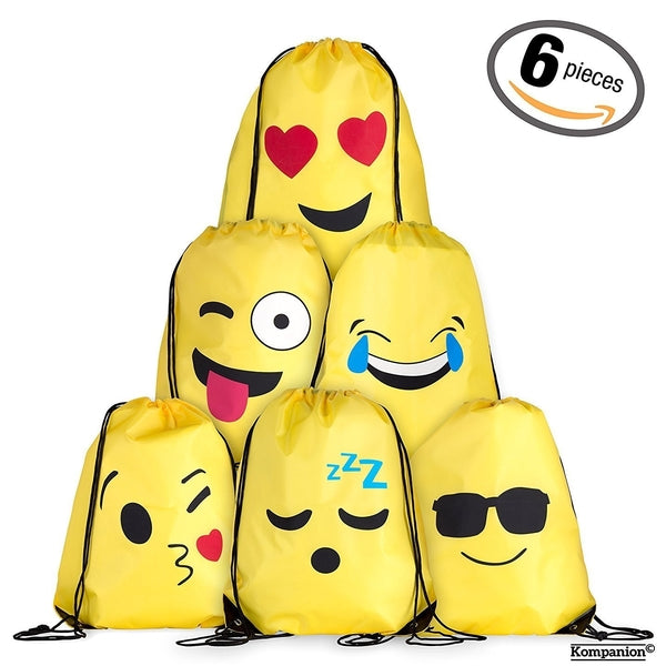 Emoji Drawstring Backpack Bag Set for Kids and Teens
