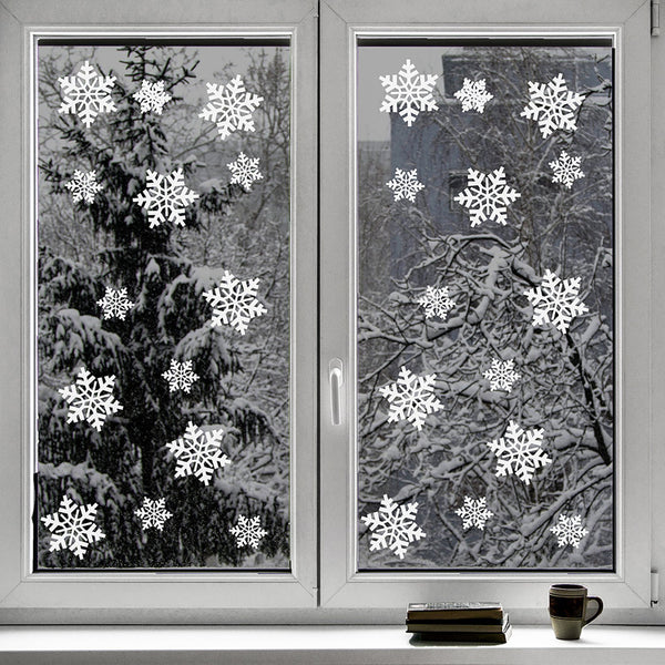 100 Piece Snow Flake Window Clings