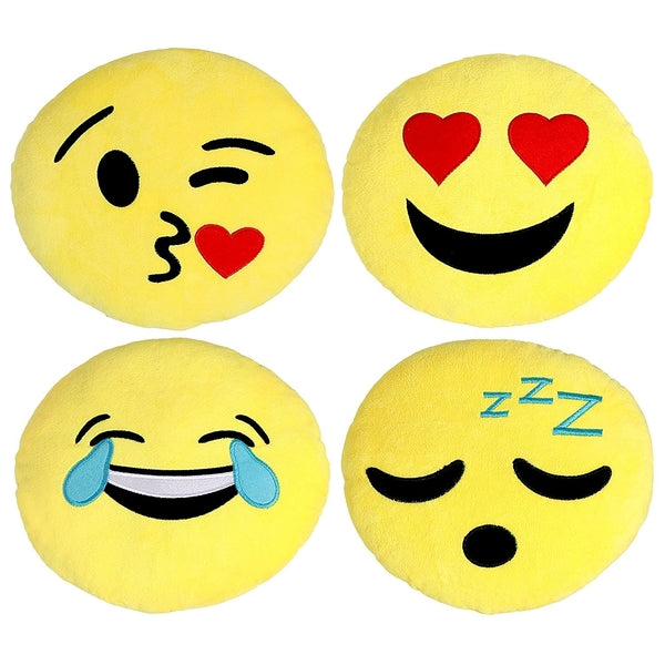 Large Emoji Pillows 4 Piece Set