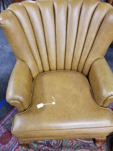 Vintage Leather Channel Back Chair