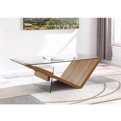 Rectangular Coffee Table Clear And Light Walnut (Local pick up only)