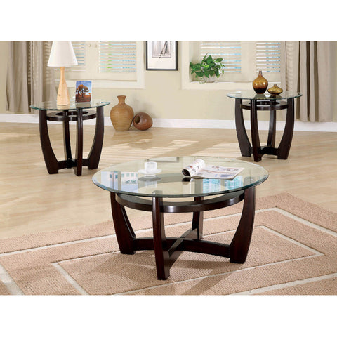 Contemporary Cappuccino 3PC Round Table Set (Local pick up only)