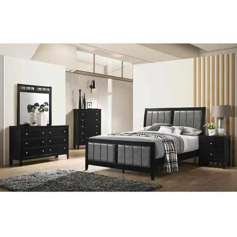 Oxford Upholstered Black And Grey Queen 4PC Bed Set (Local Pick up only)