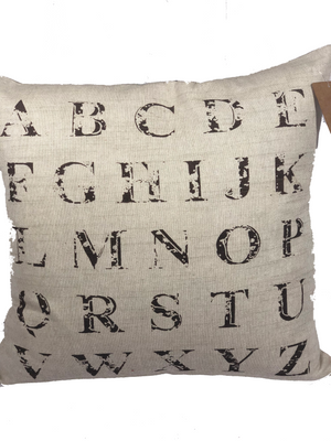"18"" sq. Alphabet, down pillow by VHC brands - Homestead House"