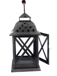 Metal Silver Lantern with Stars - Homestead House