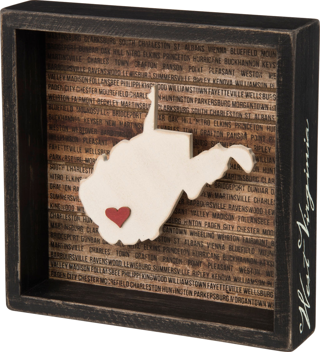 WV Box Sign, Prim by Kathy, (8 inch sq.) - Homestead House