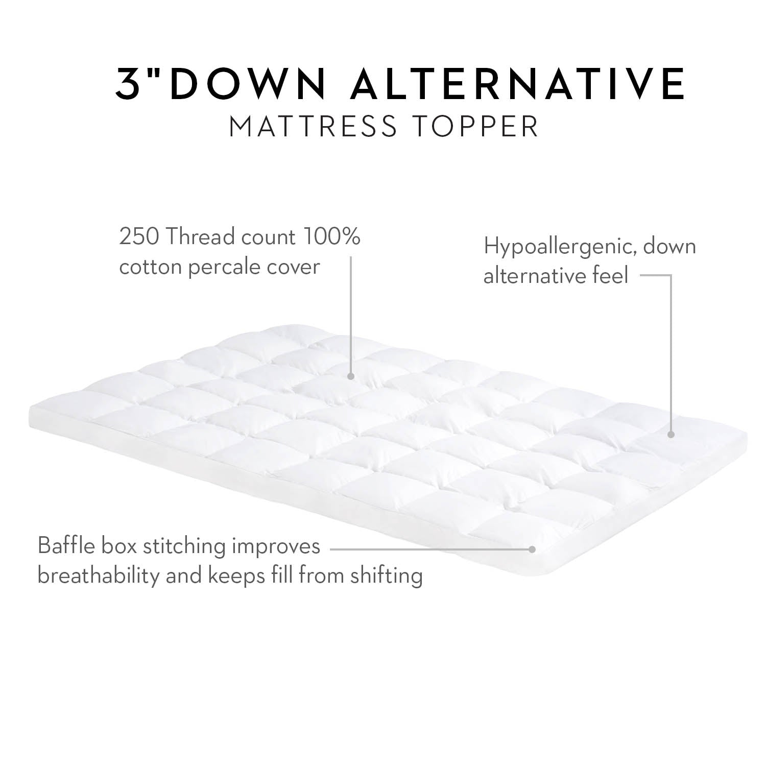 "3"" Down Alternative Mattress Topper - Ultimate Comfort Sleep"