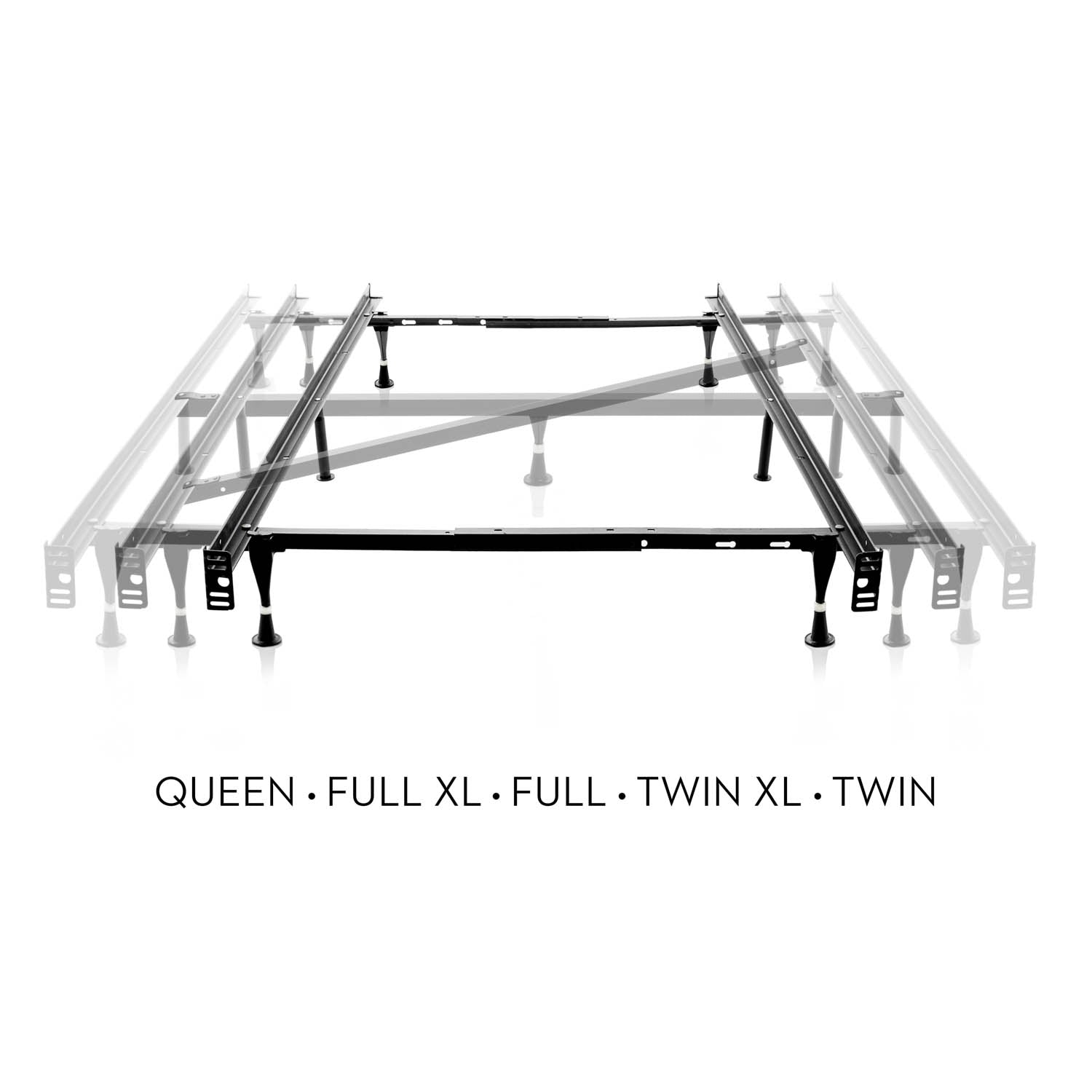 Adjustable Queen/Full/Twin Bed Frame Wheels - Ultimate Comfort Sleep