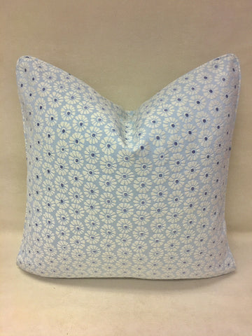 Duralee Baby Blue, white Pillow Cover, Eurosham or Lumbar Pillow Accent Pillow, Throw Pillow