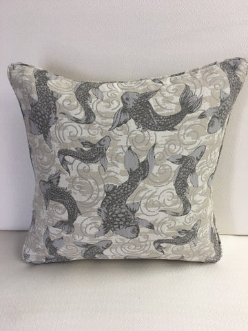 Duralee Grey, Tan, Beige  outdoor fabric Pillow Cover, Eurosham or Lumbar Pillow Accent Pillow, Throw Pillow